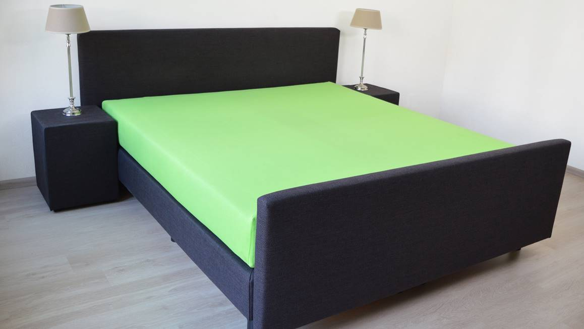 snoozing drap housse en jersey vert lime. Black Bedroom Furniture Sets. Home Design Ideas