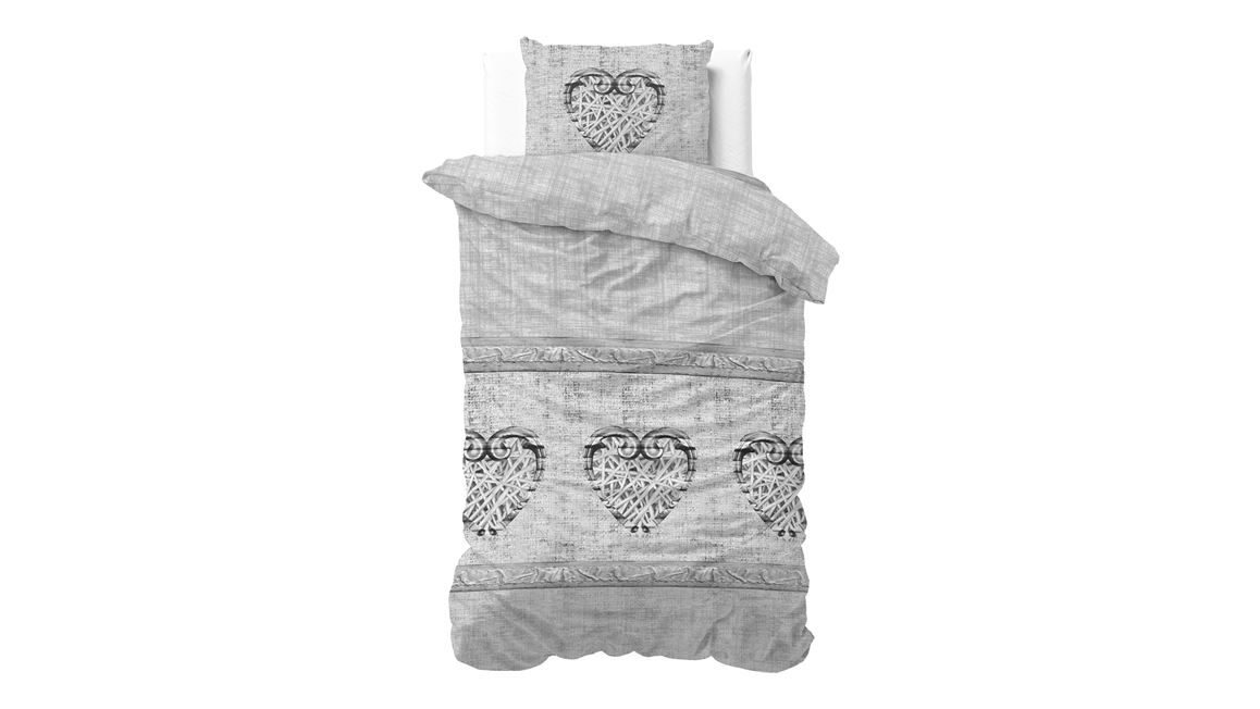 sleeptime hearts vintage housse de couette en flanelle gris. Black Bedroom Furniture Sets. Home Design Ideas